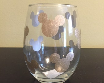 Mickey Mouse Gold Sparkle Wine Glass