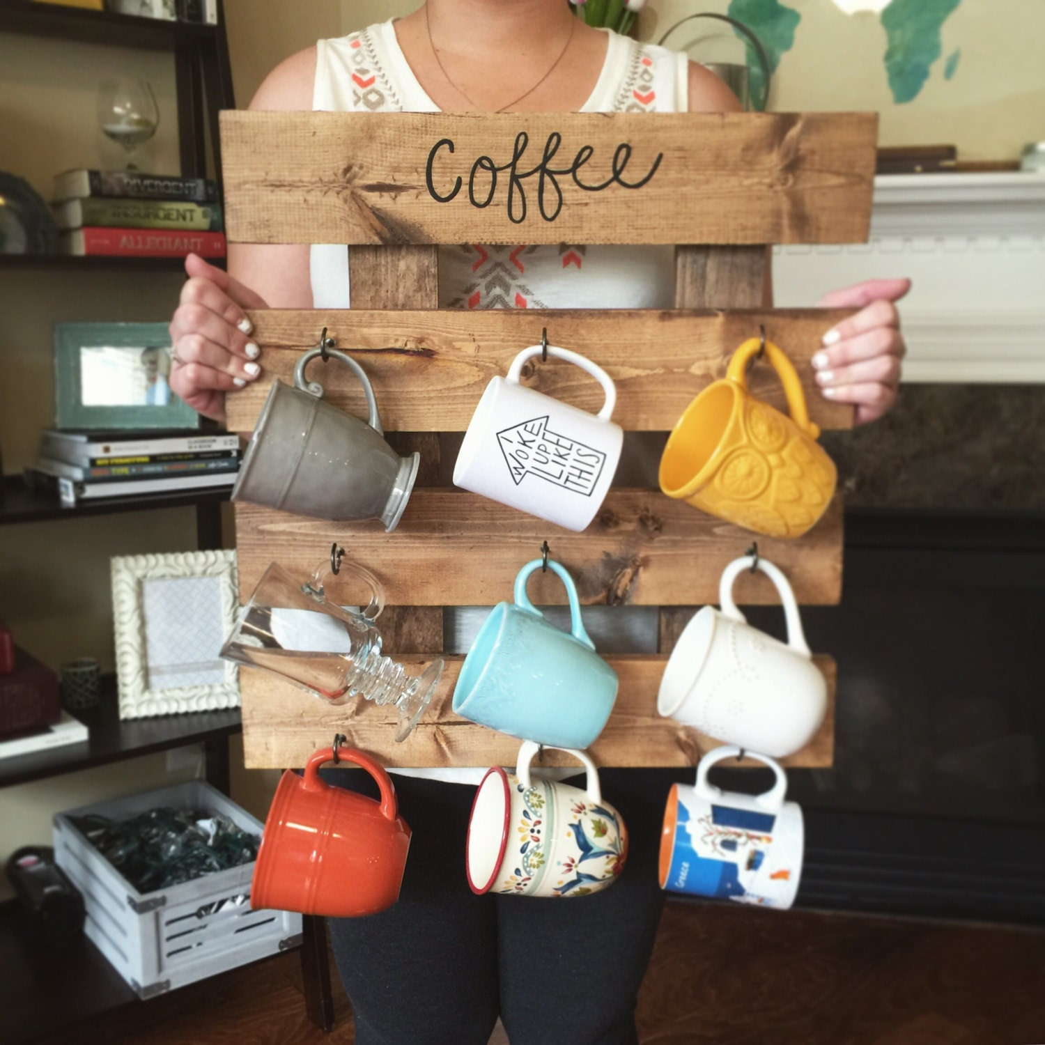 Coffee mug rack reclaimed wood look coffee cup by for Mug racks ideas