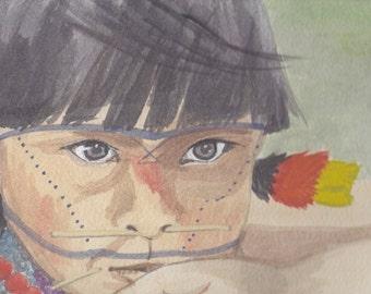 Aboriginen, south american  Giclee print of original watercolor Painting