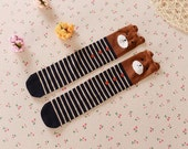 READY TO SHIP! Kids brown bear knee high socks with navy and white stripes, toddler socks, baby leg warmers