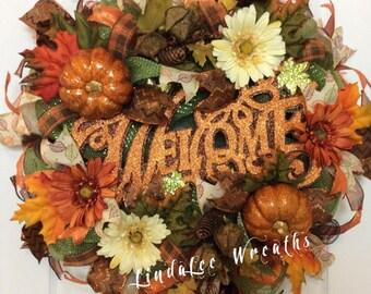 SALE(149)Welcome Deco Mesh Wreath-Fall Wreath-Autumn Wreath-Thanksgiving Wreath-Fall Themed Wreath-Pumpkin Wreath-Fall Floral Wreath
