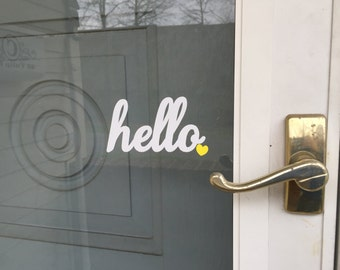 Hello with colored heart door vinyl door decal Hello <3