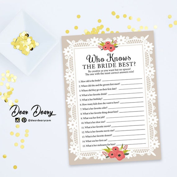 Who Knows The Bride Best Printable Bridal Shower By Deardeary