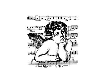 EZ Mounted Rubber Stamp Victorian Cherub Sheet of Music Background Altered Art Craft Scrapbooking Cardmaking Collage Supply.
