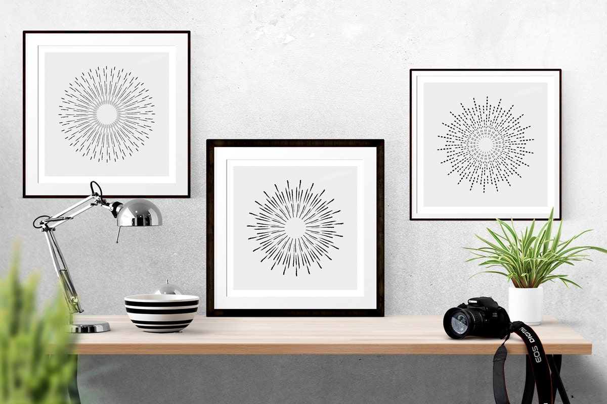 radial sunburst 3 prints sunburst wall art by nordicprintstudio