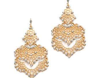 Ornate Filligree Swarovski Crystal Earrings