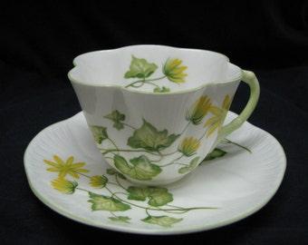 Shelly Teacup & Saucer Celandine pattern Dainty shape bone china England
