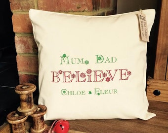 Christmas Cushion Personalised Embroidered 100% Cotton Cushion Cover and Pad Family Christmas Cushion Cover BELIEVE Xmas Cushion Cover
