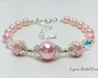 Pink Pearl Bracelet Swarovski Crystals Bridesmaid Bracelet Mother of the Bride Gift Pink Wedding Jewellery Crystal Bracelet Bridesmaid Gift
