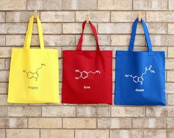 Tote Bag Nerd Chemistry Science Grocery Bag / Bicycle Bag / Beach Bag / Reusable Cotton Bag / Geek Gift Bag