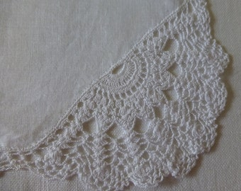 Vintage cotton lace handkerchief with crochet trim