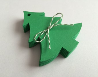 50 Green Christmas Tree Tags, Gift Tags, Scrapbooking, Card Making