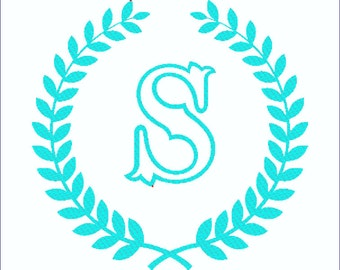 Tuscany Capital Letter S Encircled by Laurels wreath for Machine Embroidery - Other letters available upon request