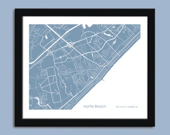 Myrtle Beach Map City Art Wall Poster