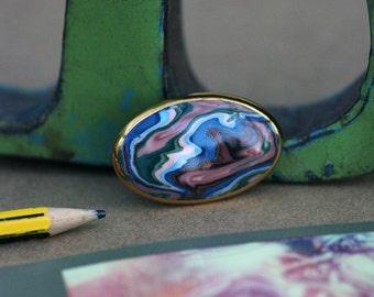 Beautiful blue/purple oval brooch