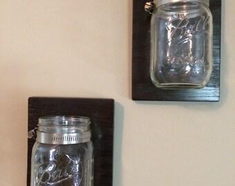 Set of 2-Mason Jar Organizer, Mason Jar Wall Sconce