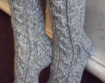 Grey hand knit socks, mohair,sheep wool,cashmere thick bed socks, slippers,UK size 4-11,US 5-12,EU 35-47.Kozizake