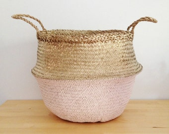 Metallic Gold and Salmon Pink Sea Grass Belly Basket Panier Boule Storage Nursery Beach Picnic Bag Toy Laundry