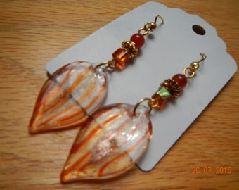Dangling Glass Leaf Earrings
