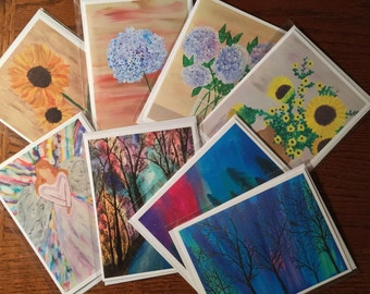 Mixed 8 Blank Note Card Set with Envelopes - Cards Handmade -Custom Note Cards - Mini Art - Original Art Cards