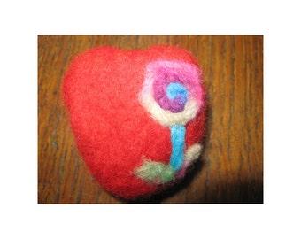 Felted brooch heart-flouer/needle felting/gift/Bulgarian wool/for her/handmade/wonderful idea/lovely/St Valentine's day