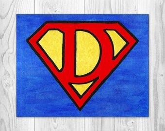 Superhero, Boys, Baby, Toddler, Kids, Nursery, Room, Decor, Art, Baby Shower, Gifts, Painting, Personalized
