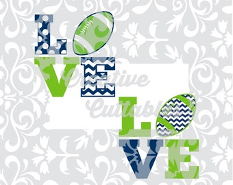 Football SVG LOVE Chevron and Polka Dots for  Silhouette or other craft cutters (.svg/.dxf/.eps)