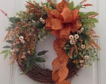 Autumn wreath. Fall wreath. Fall door decor. French Cottage wreath. Orange and white flowers. Autumn door decor.