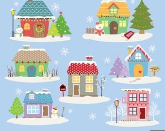 Winter Houses Digital Clipart