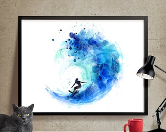 Surf Watercolor Art, Surf Print, Watercolor Painting, Watercolor Art Poster, Surf Poster, Decor Wall Art, Artwork, Art, Print(157)