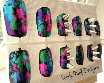 3D Spikes Colourful Bright Foil Punk Hand Painted False Nails