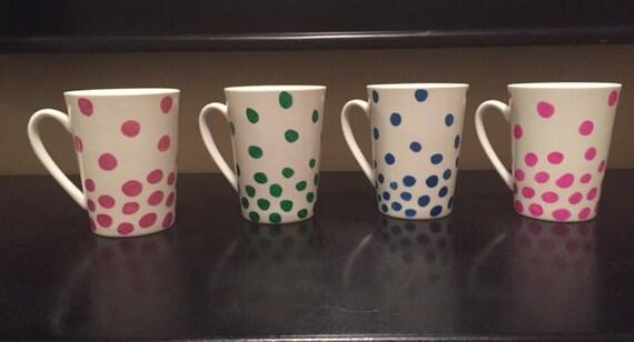 Colorful polka dot mug set