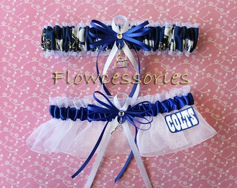 INDIANAPOLIS COLTS handmade hearts bridal garters - keepsake garter set