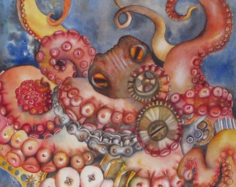 Octopus Art, Giclee Print, Steampunk, Mechanical Gears