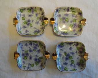 Set of 4 Lefton China Personal Ashtrays With Purple Floral Pattern And Gold Trim