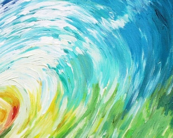Salty Rainbow - Wave Painting - Acrylic