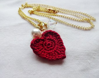 Valentine's Day Necklace - Red Heart Necklace - Valentine's Heart Necklace - Valentine's Jewelry - Heart Charm Necklace - Cotton Anniversary