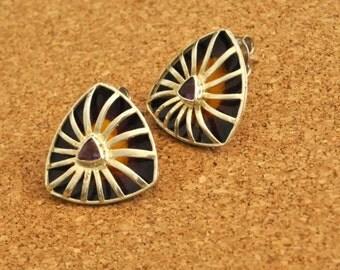 Sterling silver Earrings Amethyst Earrings Enamel Earrings Silver Stud Earrings Gemstone Earrings Stud earrings