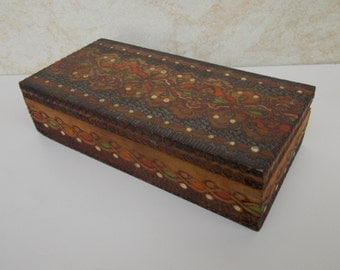 Small wood jewelry box / jewelry box / old jewelry box / vintage jewelry box.
