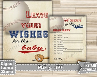 printable wishes for baby baseball theme baby shower wishes sign and cards in baseball vintage