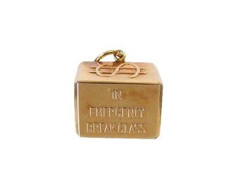 14K Gold Dollar Charm In Emergency Break Glass