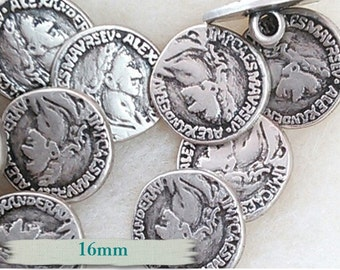 BM10, Buttons (6), Alexander, 16mm, metal, rod,  Alexander button, FREE Shipping with another purchase.