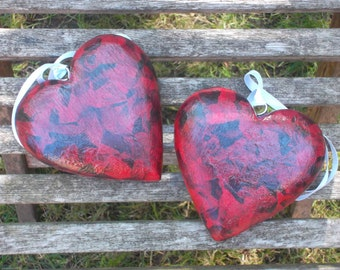 decoupaged wooden hearts