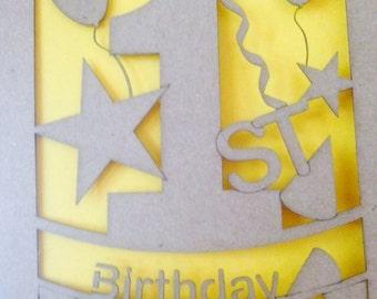 1st Birthday cards, personalised birthday keepsake,laser cut