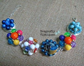 Vintage Earring Bracelet, OOAK, Multi-Color Repurposed, Upcycled, Recycled /44