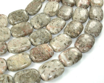 Fossil Jasper Beads, Rectangle, 14 x 19mm, 15 Inch, Full strand, 20 beads, Hole 1.2 mm (220033002)