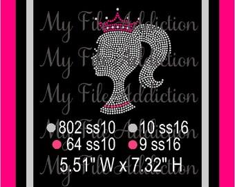 Instant Download Rhinestone SVG EPS Design File Barbie Doll Silhouette