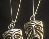 Antique Silver Mask Face Earrings