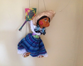 Vintage Cloth hand crafted Mexican Folk Art Puppet- Marionette- Girl with Fan