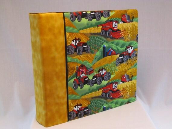12x12 Postbound Fabric Scrapbook Photo Album Memory Book Handmade Farming Tractor CASE IH Farmer Fields Crops AO23 Album Outfitters